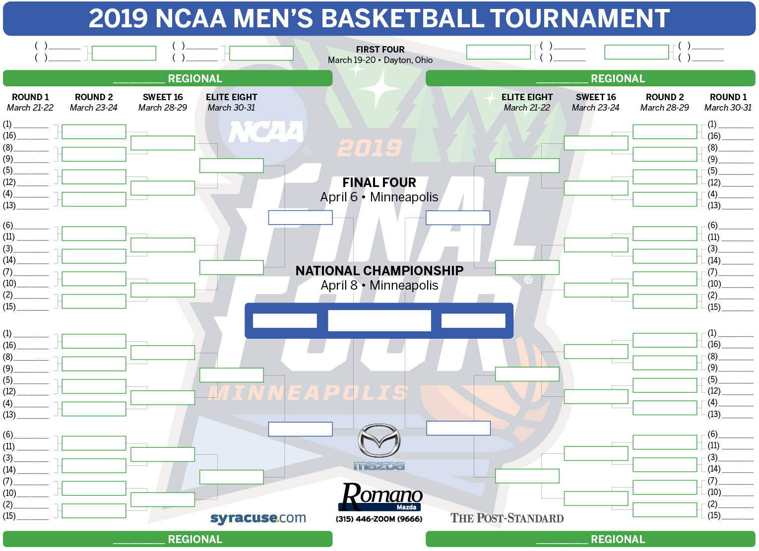 Printable Ncaa Tournament Bracket 2019 Schedule Locations For