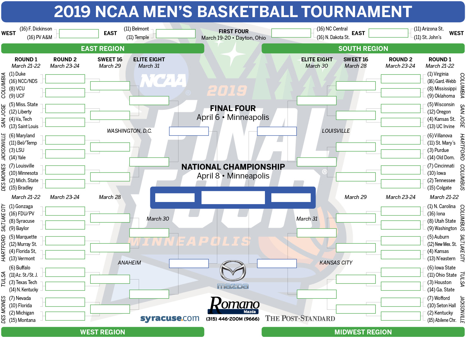Ncaa Bracket 2019 Tournament Teams Set Print Your Men S Basketball